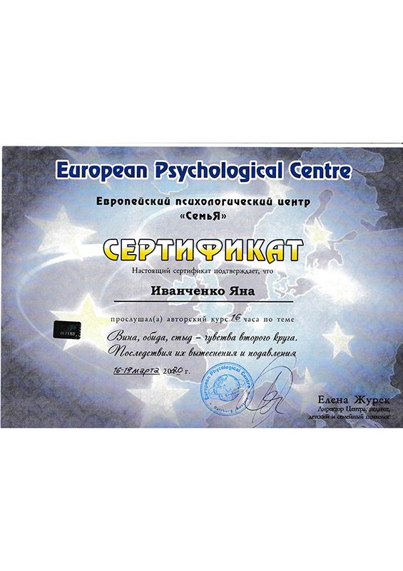 Психолог Иванченко Яна